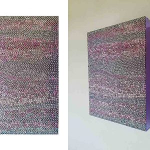 RITRATTO DI UOMO E DI DONNA, 2017, foto digitali e silicone su plexiglass viola, cm 39x30x10