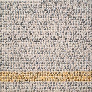 A (II), 2016, ritagli di giornale e silicone su tela, cm 24x24