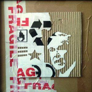Fragile, SUP.CART B, 2012, cartone inciso e colori acrilici, cm 30x30