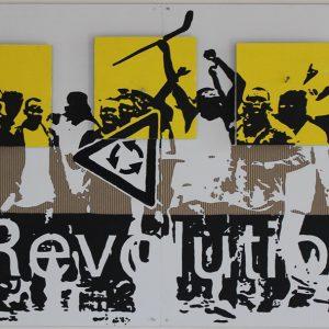 REVOLUTION, 2018, cartone inciso e colori acrilici, cm 90x180