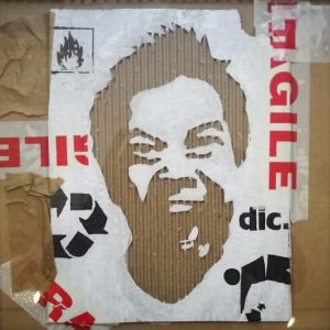Fragile, SUP.CART, 2012, cartone inciso e colori acrilici, cm 30x30