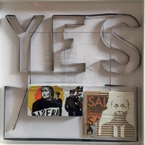 YES, 2016, cartone inciso, nastro e colori acrilici, cm 50x50