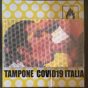 TAMPONE COVID 19 ITALIA, 2019, acrilico su cartone e pluriball, cm 24X25